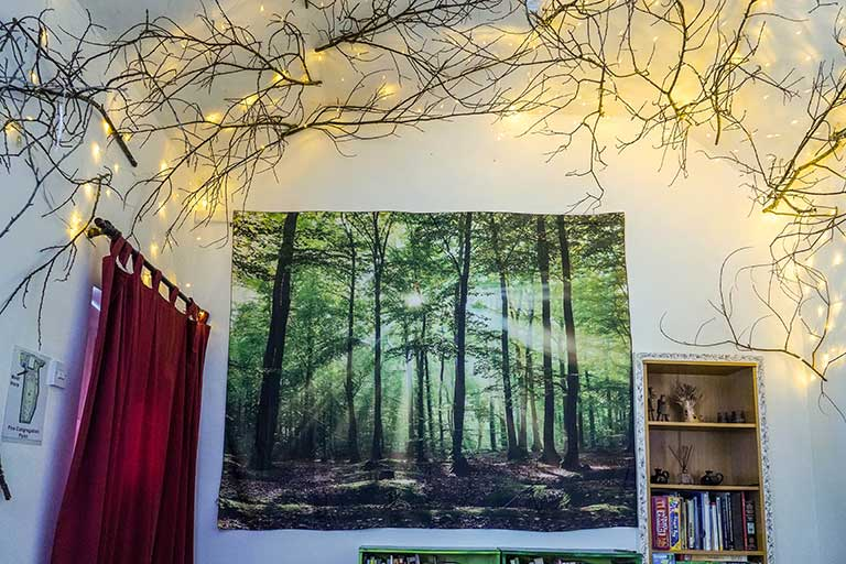 Enchanted forest room interior with lights